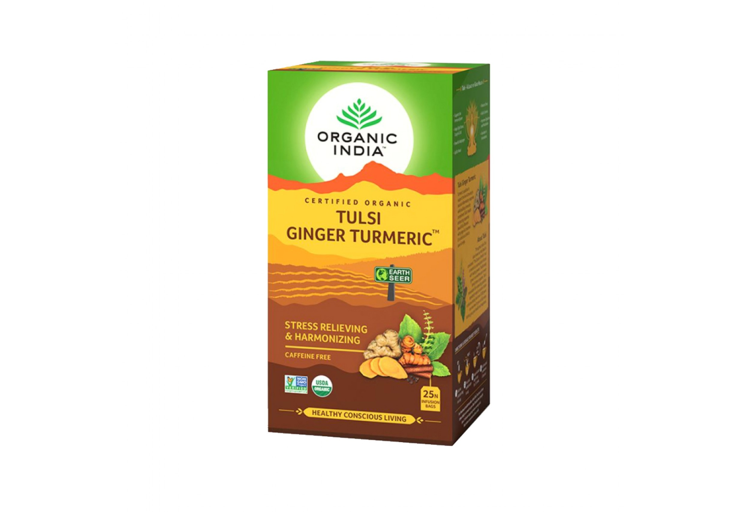Tulsi tea with turmeric and ginger root
